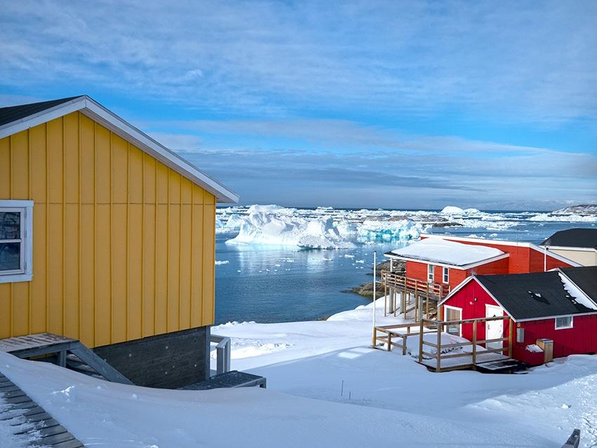 Maison jaune Groenland Ilulissat icefjord