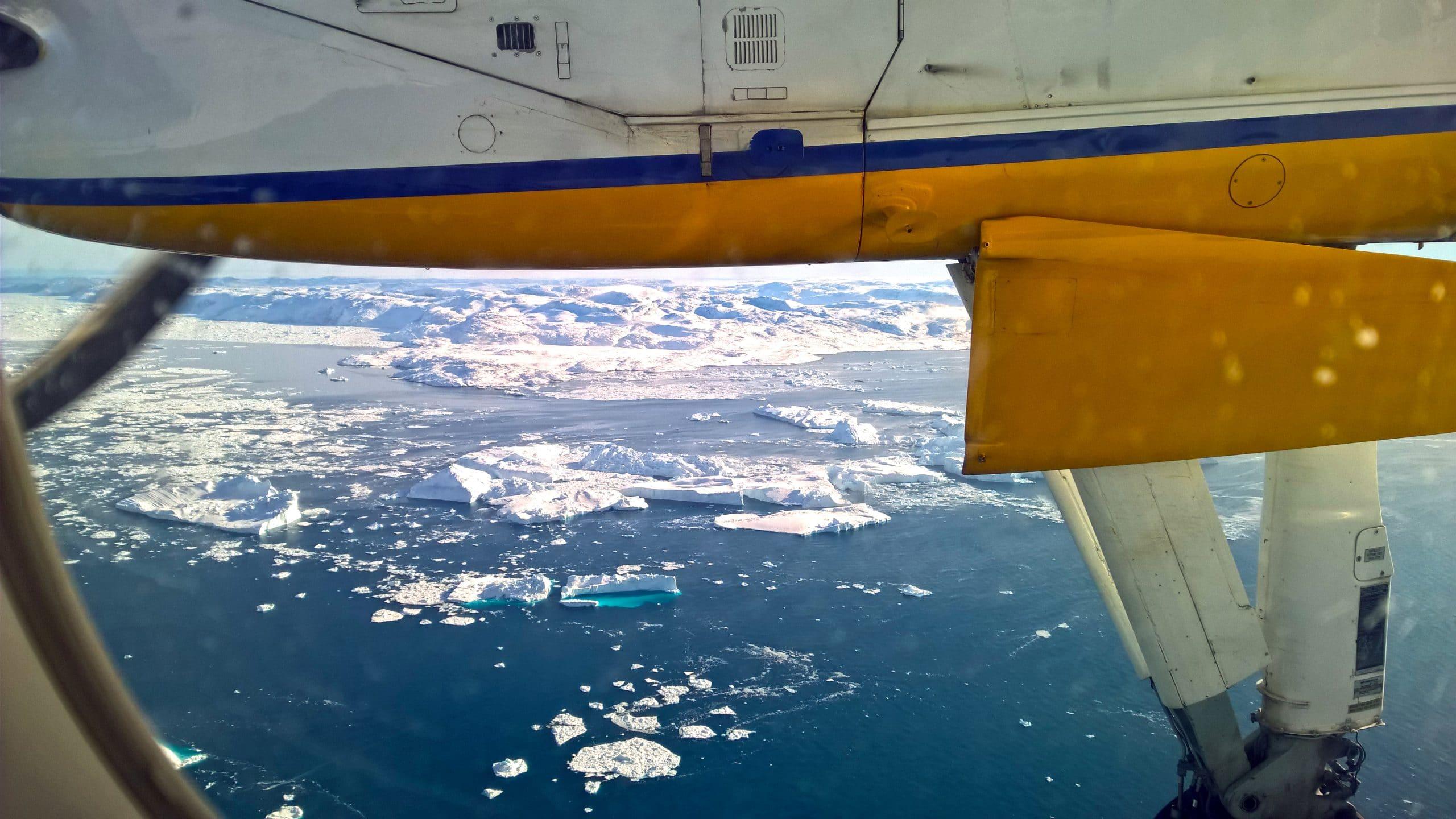 Groenland en hiver avion icebergs