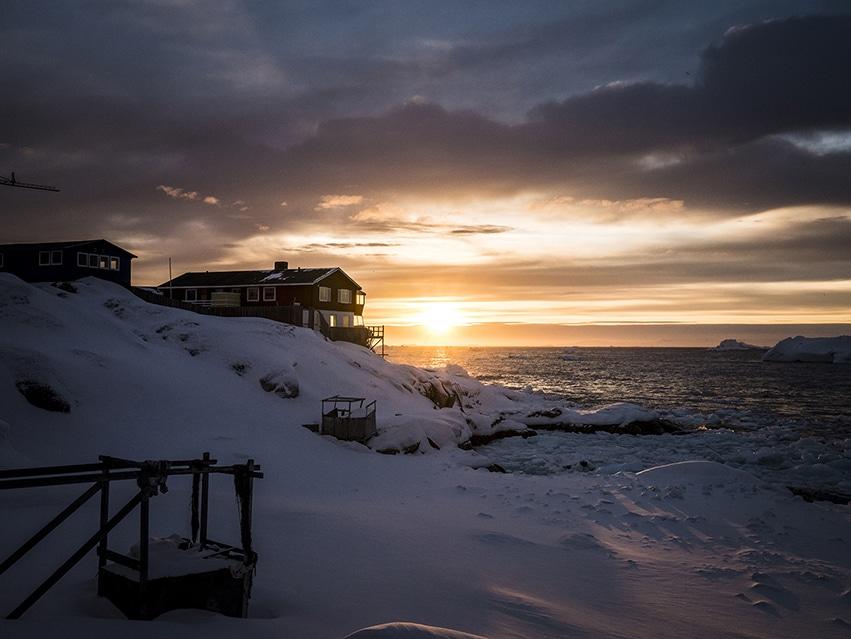 Groenland en hiver coucher de soleil Ilulissat Baie de Disko