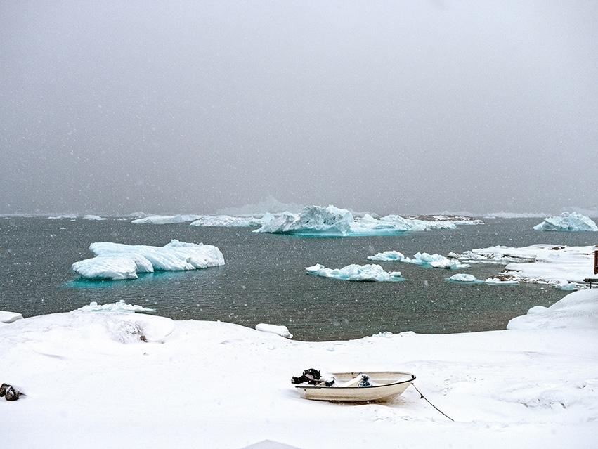 Groenland Ilulissat neige nuages icebergs