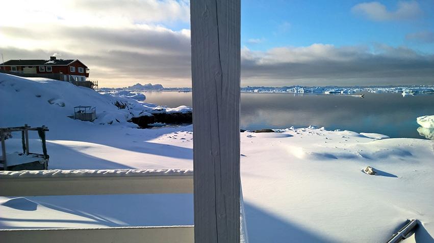 Ilulissat vue icebergs balcon chalet
