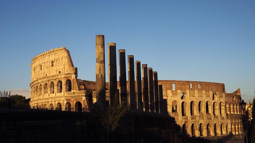 Colisee Rome en 3 jours coucher du soleil colonnes