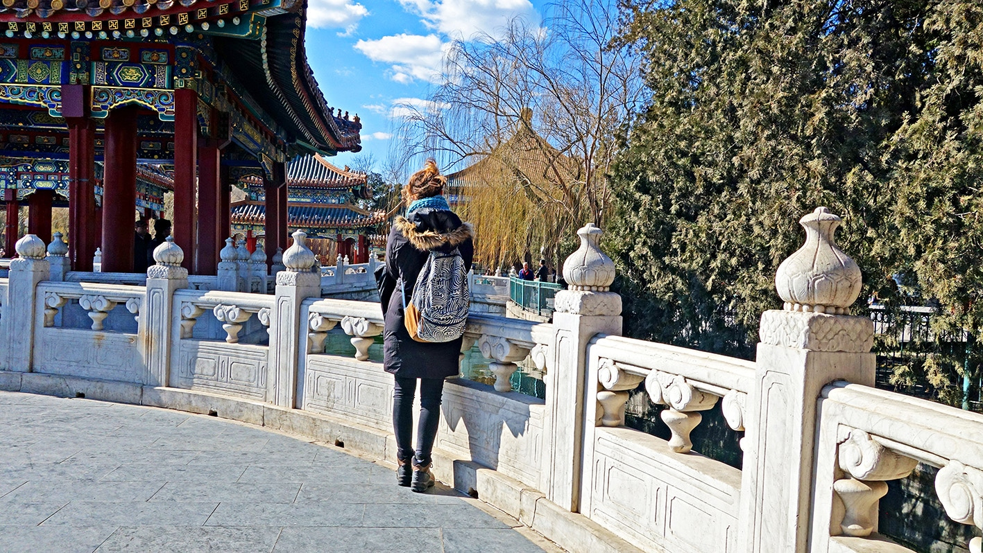 Palais Pékin Parc de Beihai pagodes ciel bleu