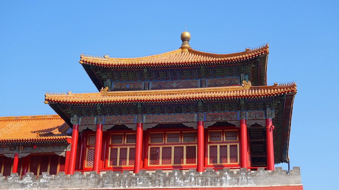 Cité Interdite temple rouge ciel bleu