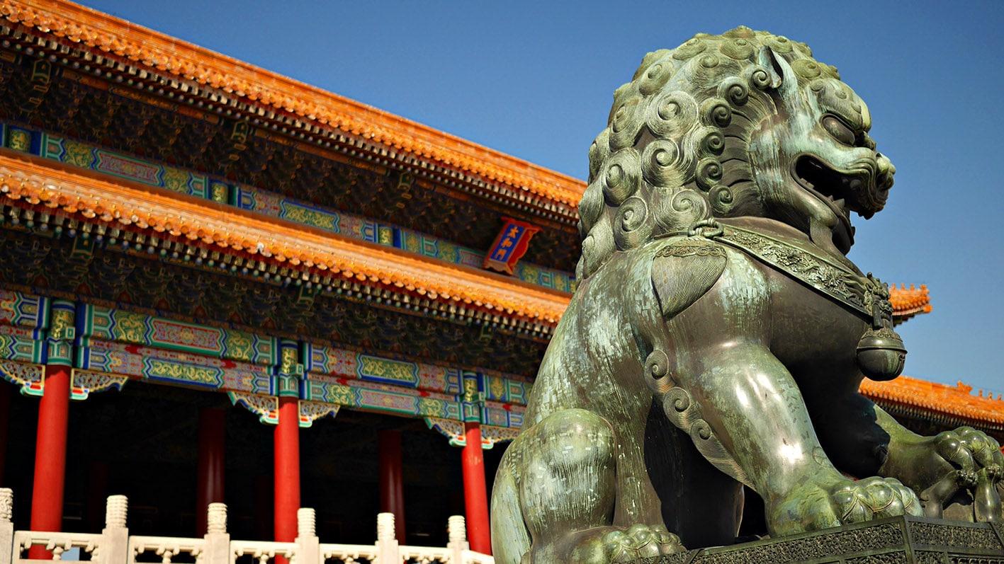 Cité Interdite dragon marbre pagode