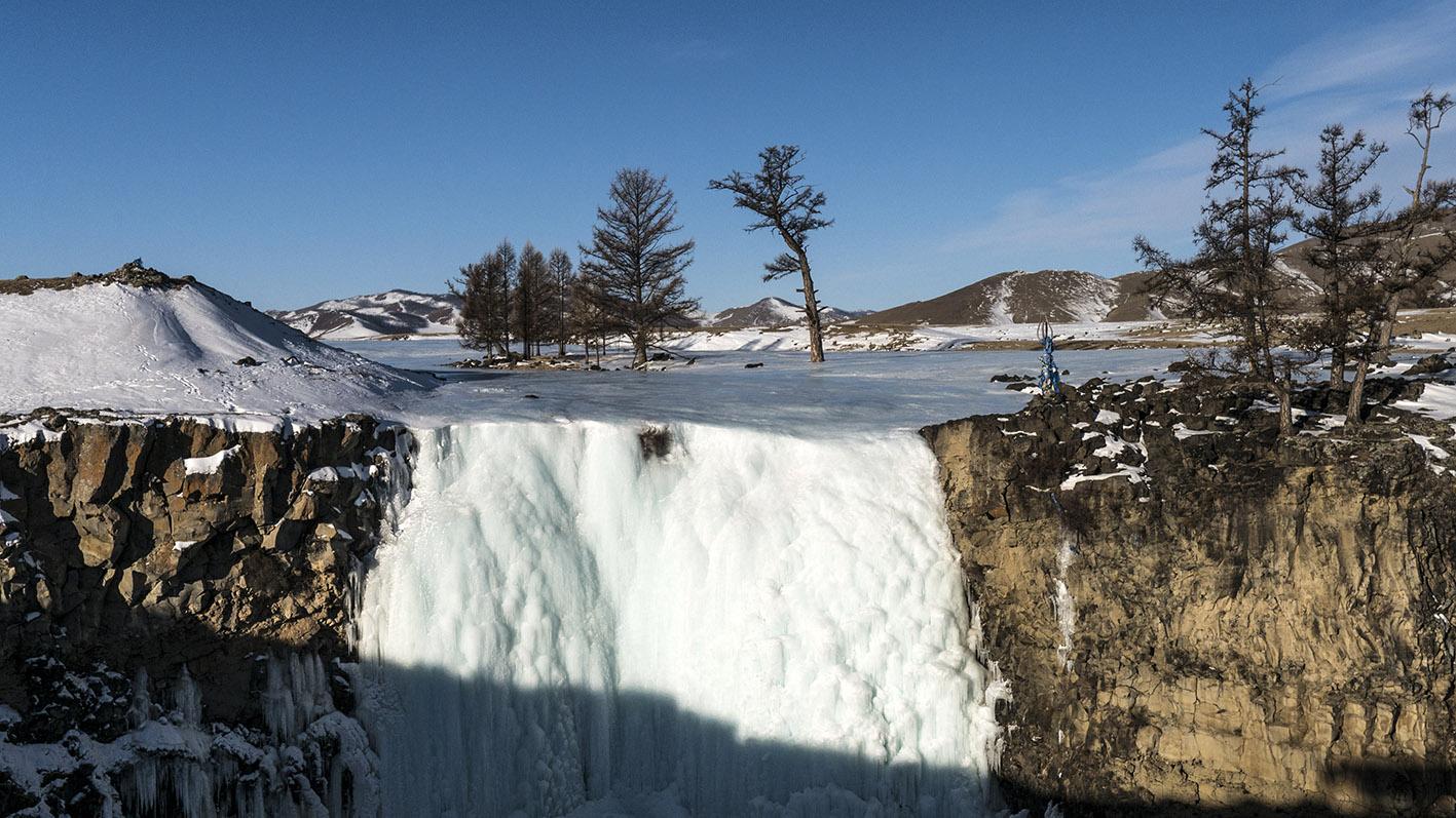 Vallée de l'Orkhon cascade glace ciel bleu