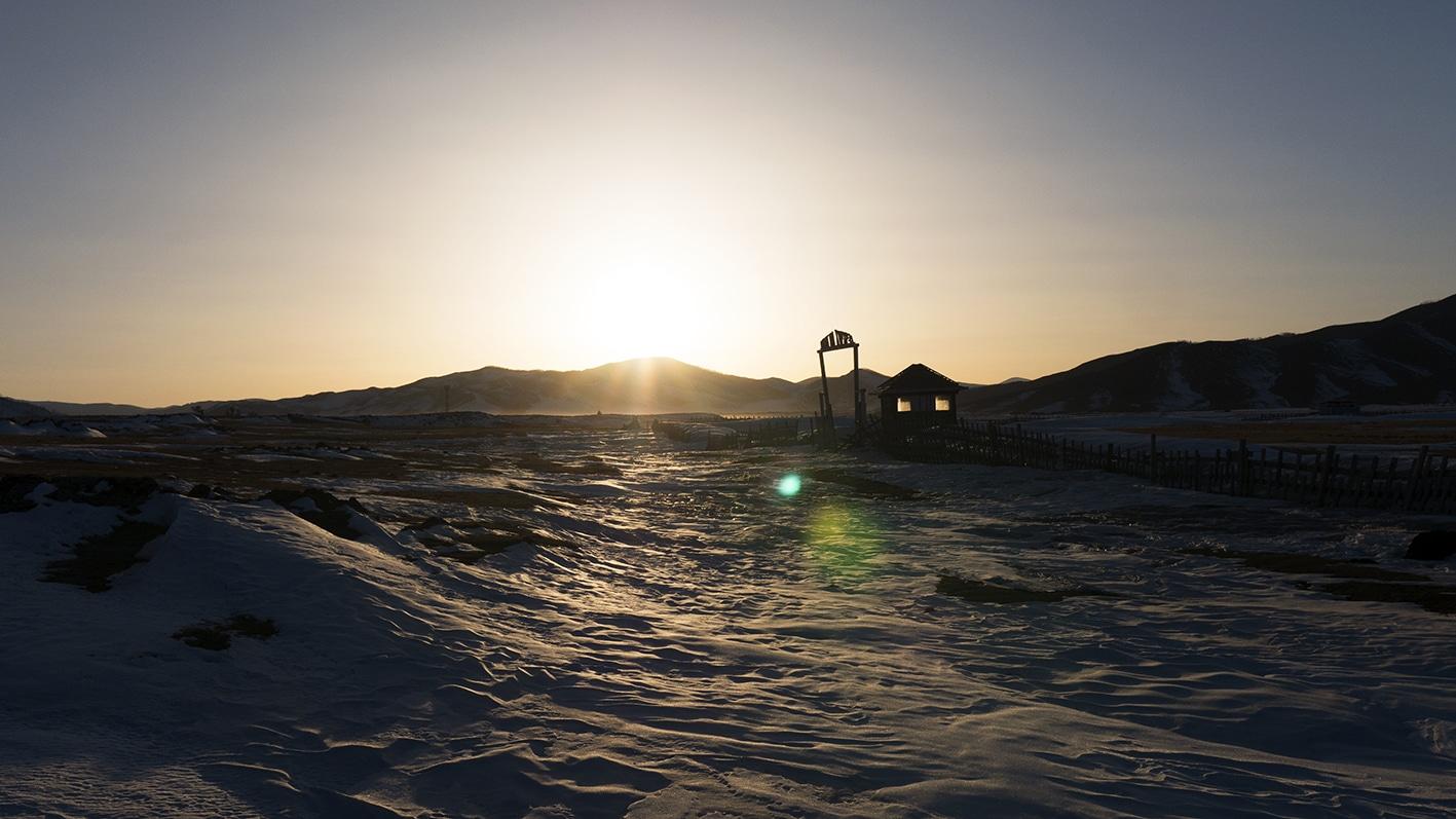 Vallée de l'Orkhon coucher de soleil glace