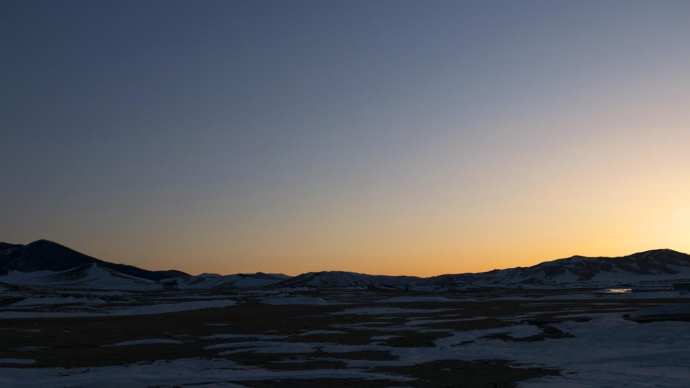 Coucher de soleil yourte Mongolie