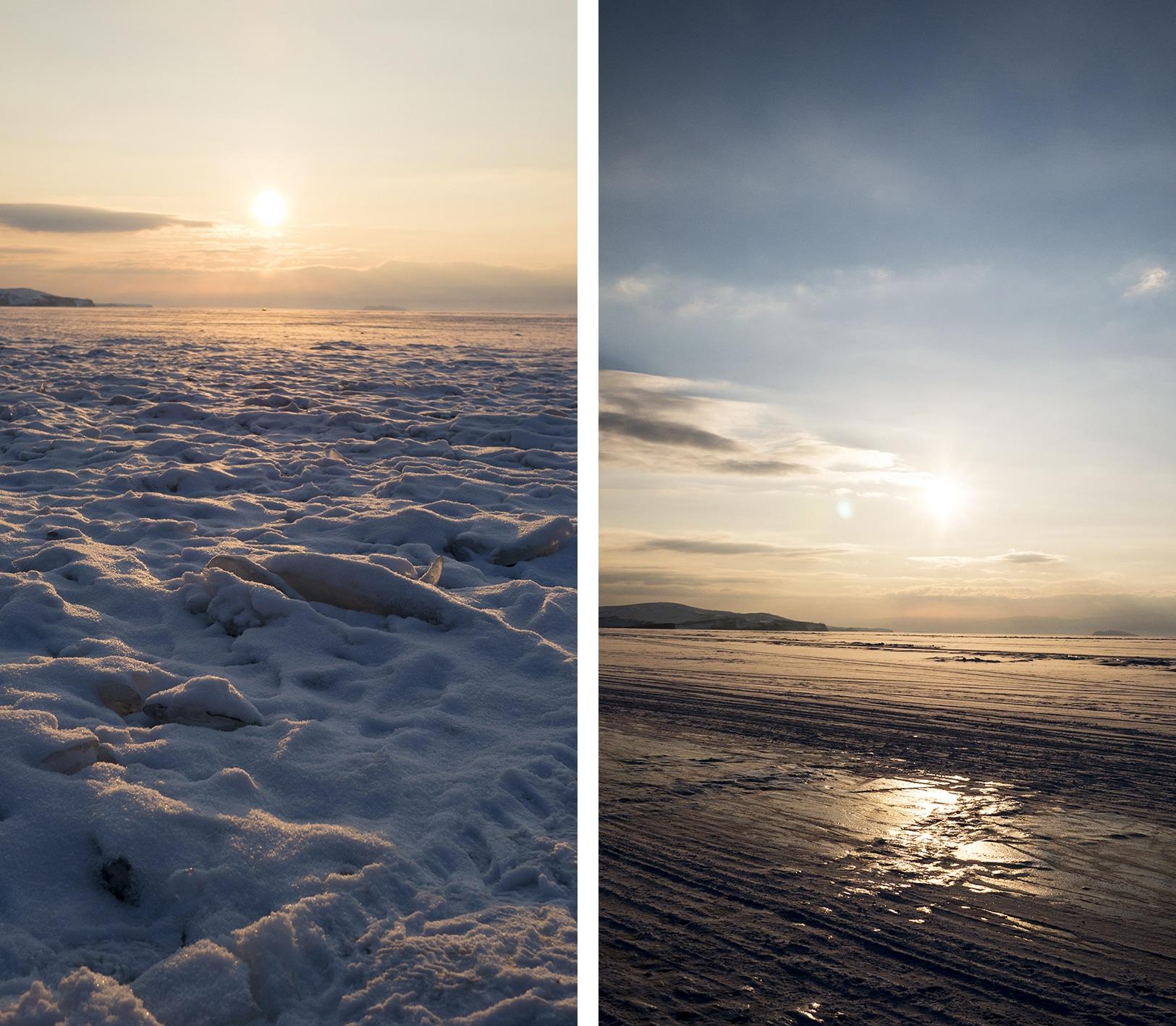 lac Baïkal en hiver neige soucher de soleil
