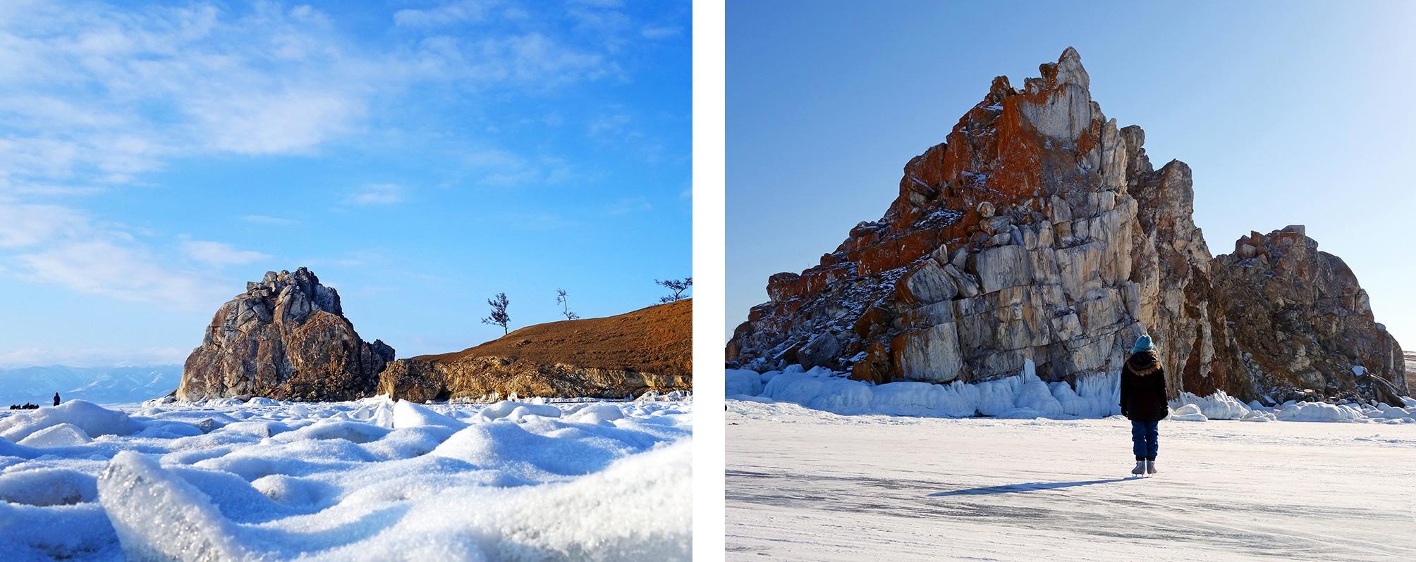 Rocher du chaman lac Baïkal gelé