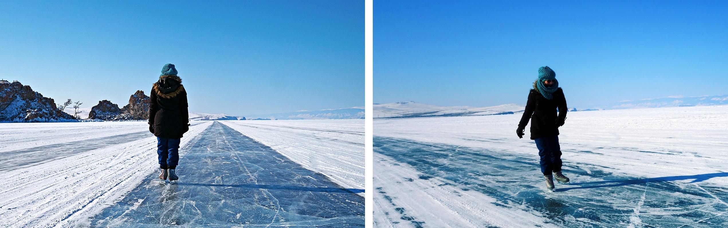 patins à glace neige lac Baïkal Sibérie