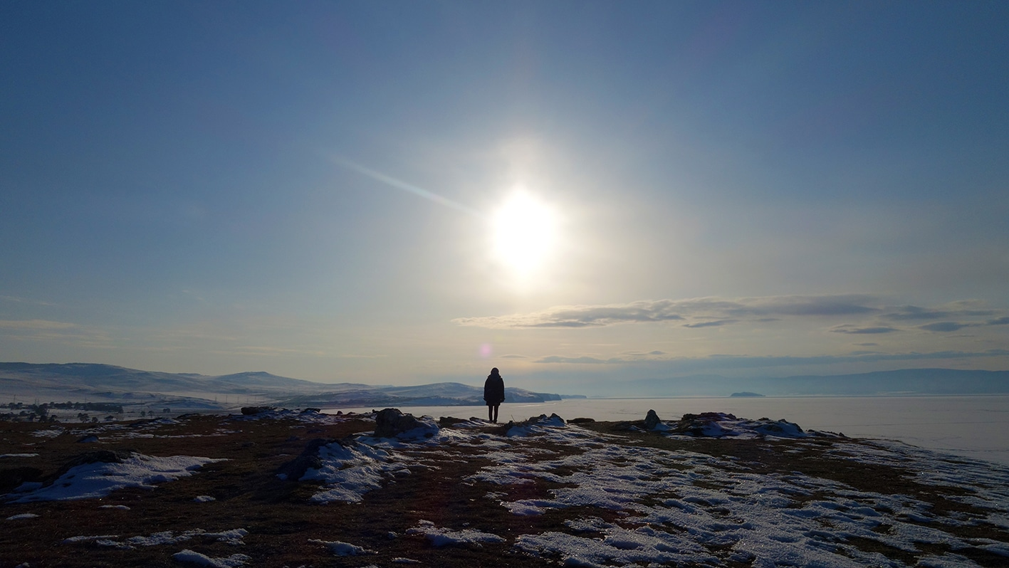 Perle de Sibérie lac Baïkal en hiver seule neige