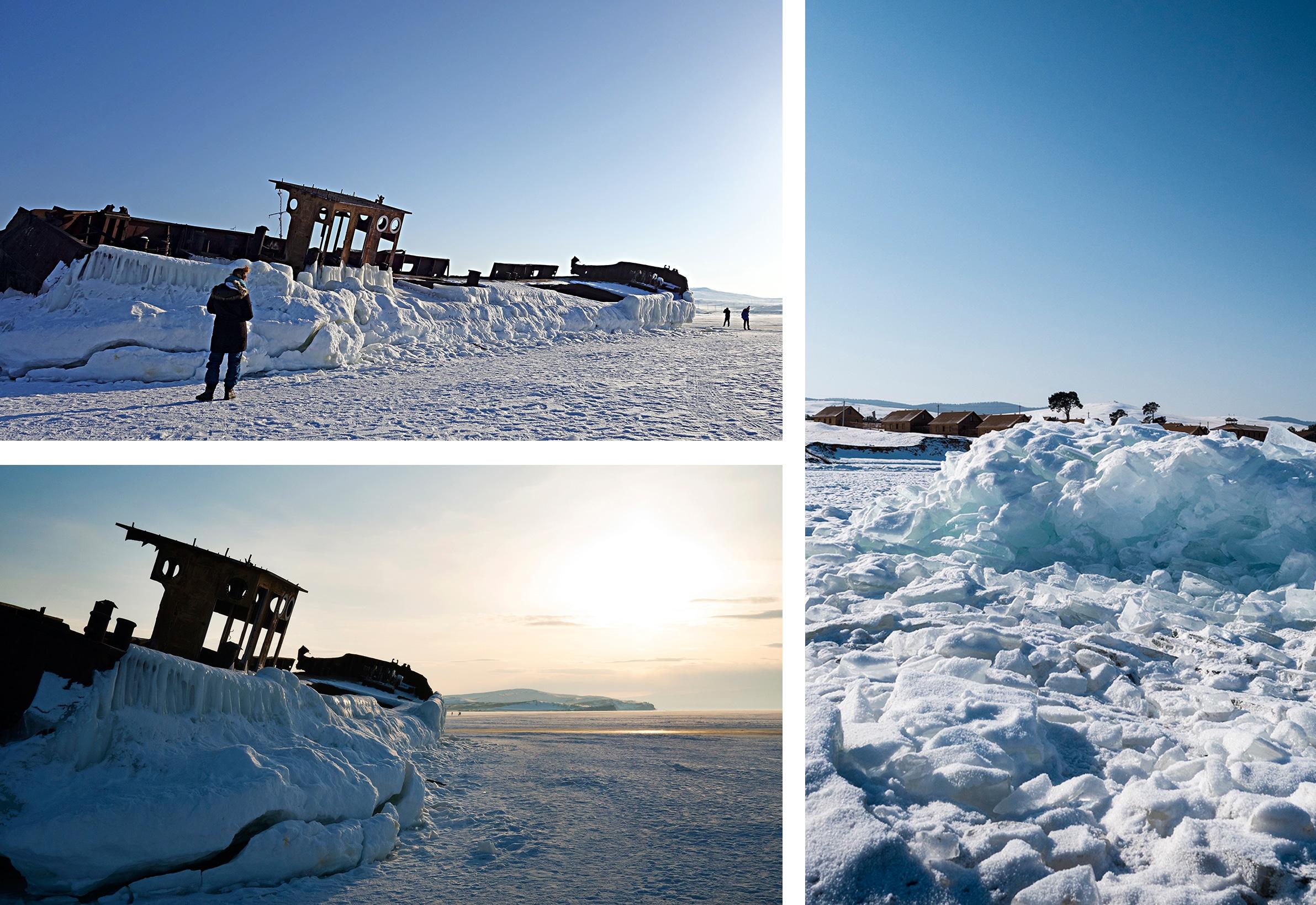 lac Baïkal bateaux neige