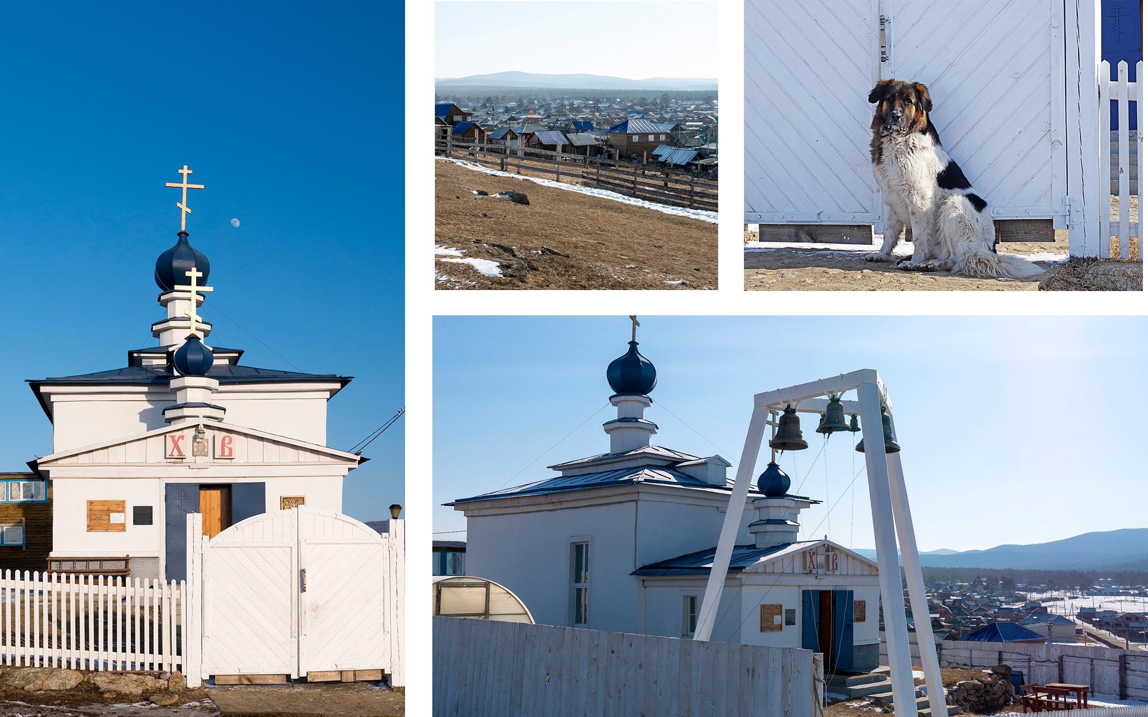 Eglise Khuzir ciel bleu chien cloches neige