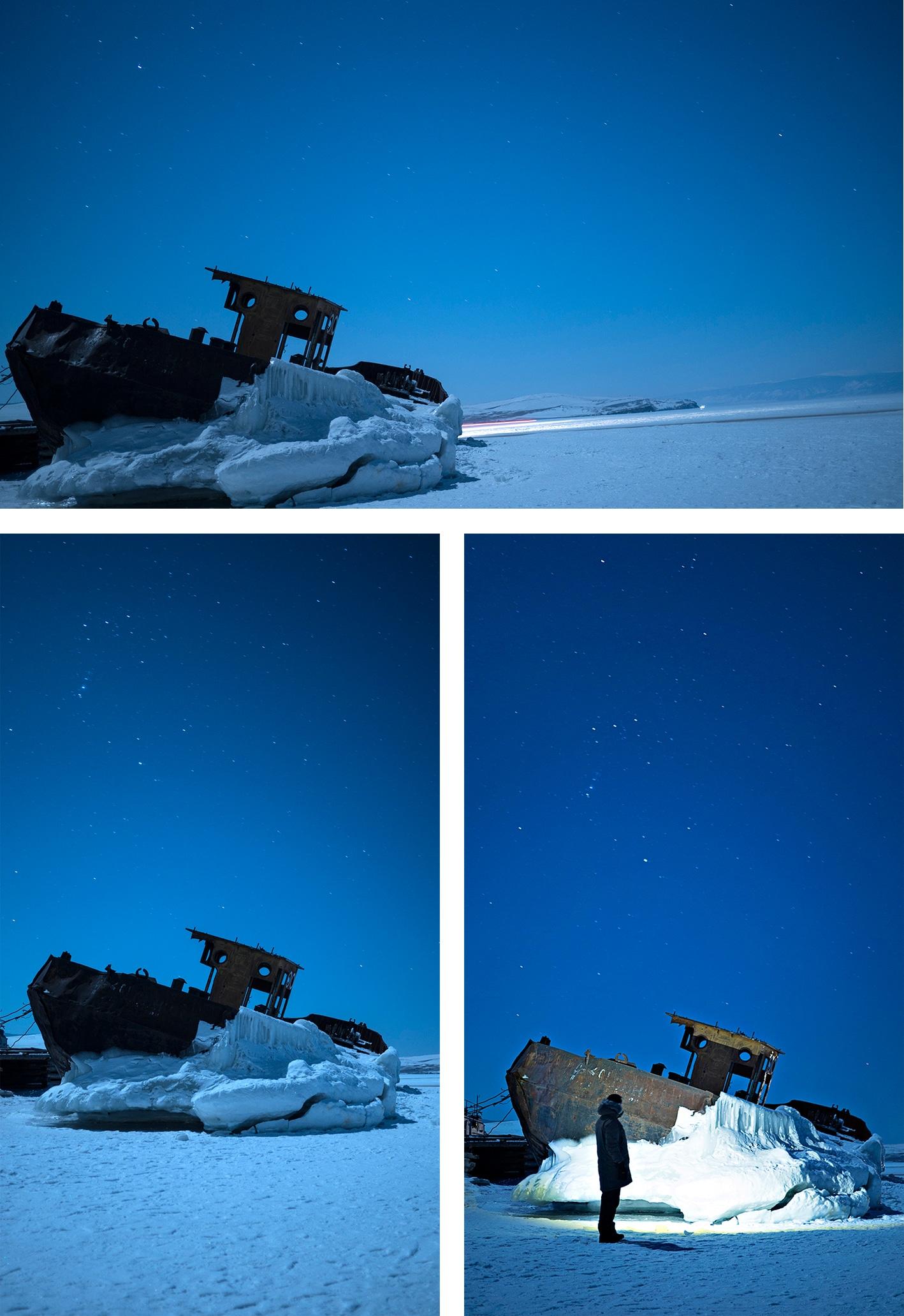 Lac Baïkal en hiver  nuit bateau étoiles naige