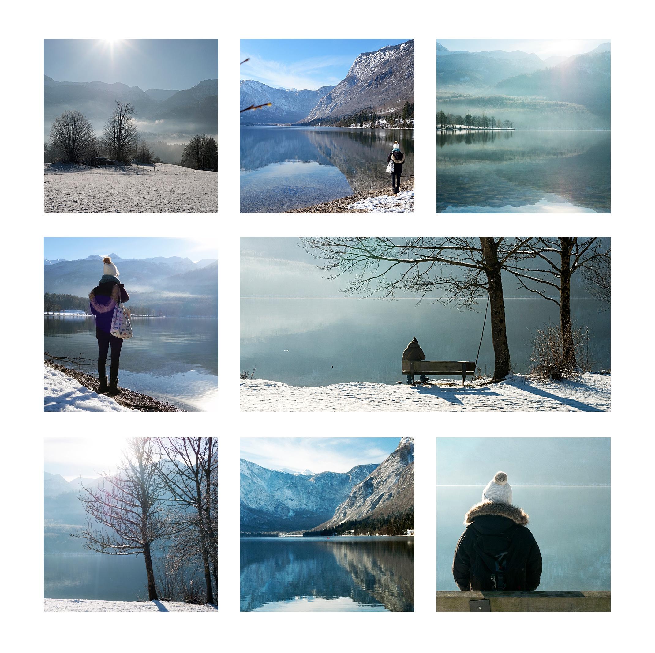 Slovénie en hiver neige lac de Bohinj