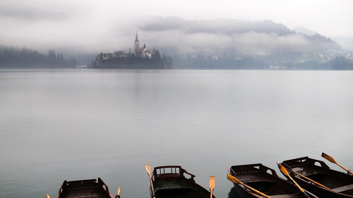 Slovénie en hiver barques Bled