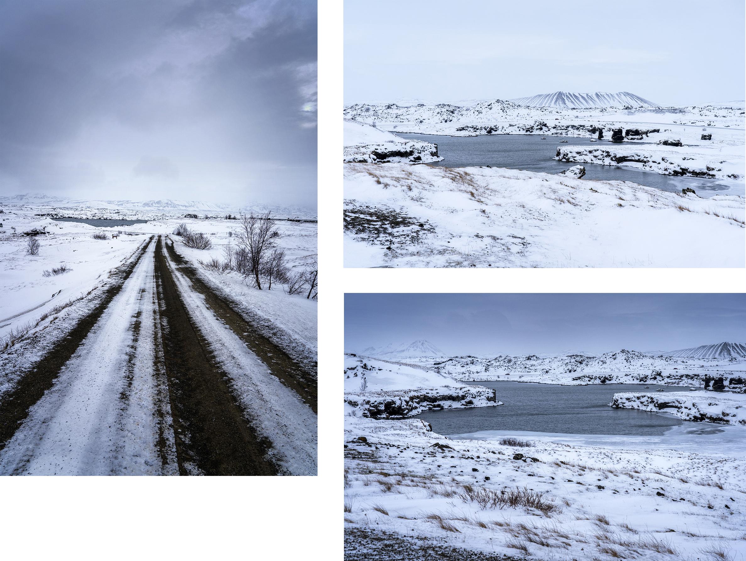 lac Mývatn Islande du Nord route neige