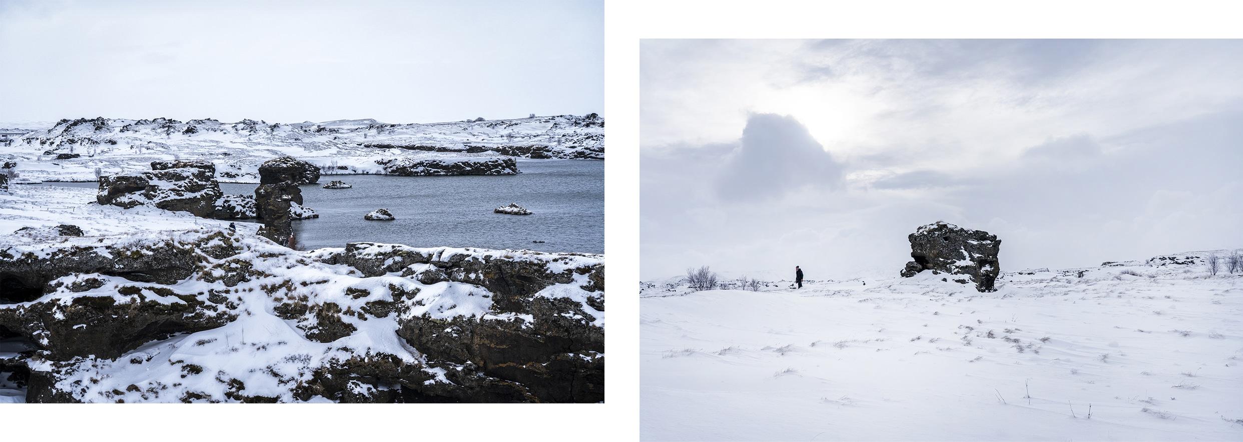 Mývatn lac rochers eau noir et blanc rayons percent Islande du Nord