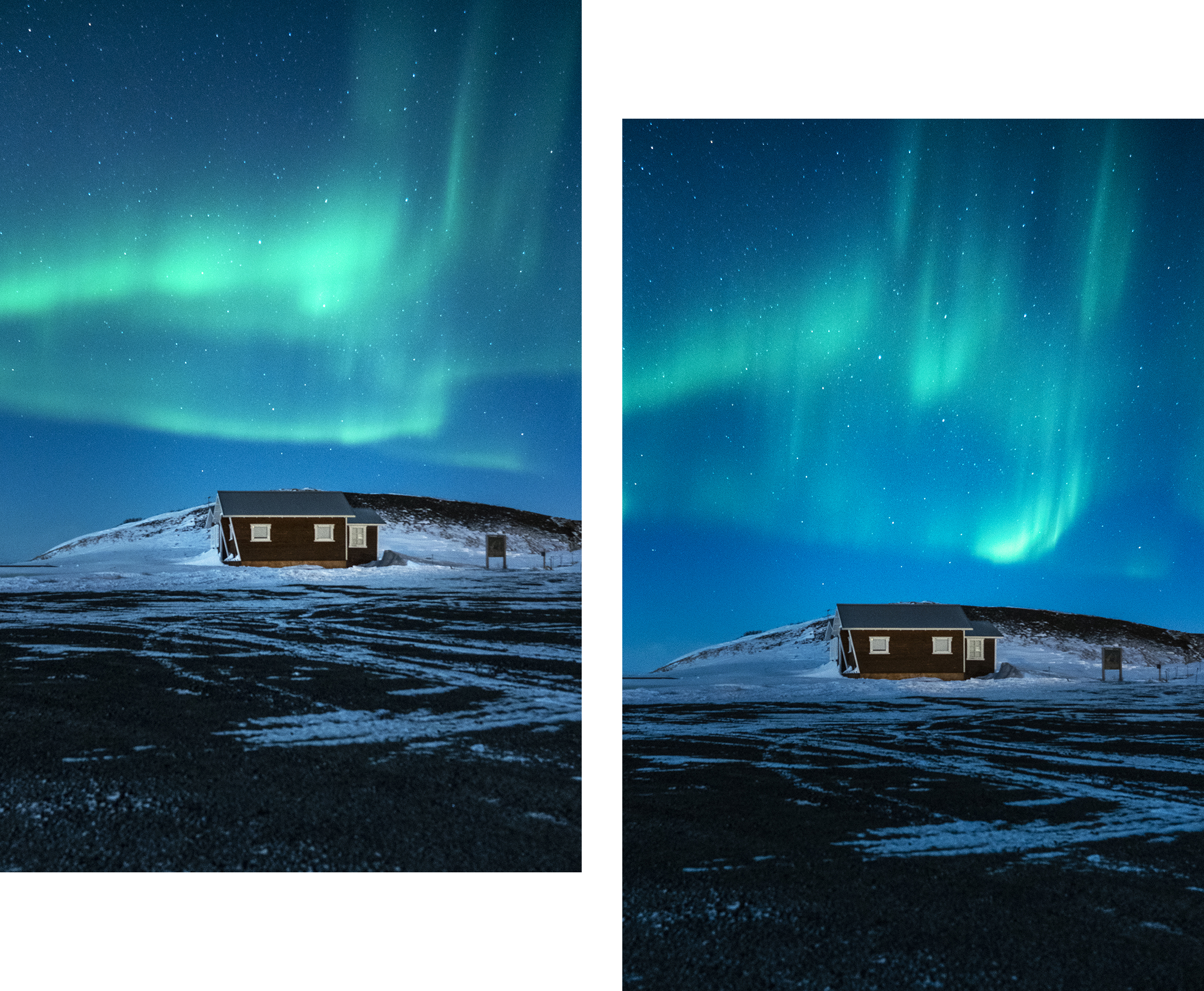 Islande cabane neige aurores boréales
