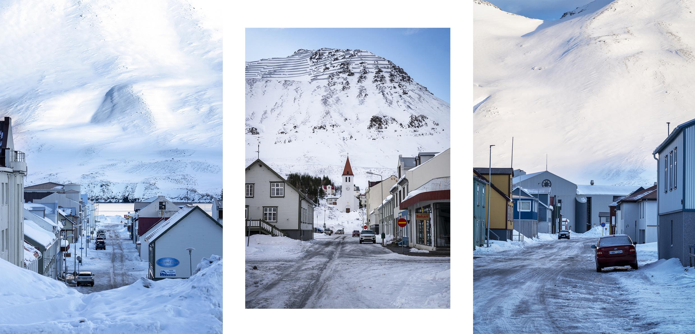 Siglufjörður rue commerces église montagnes