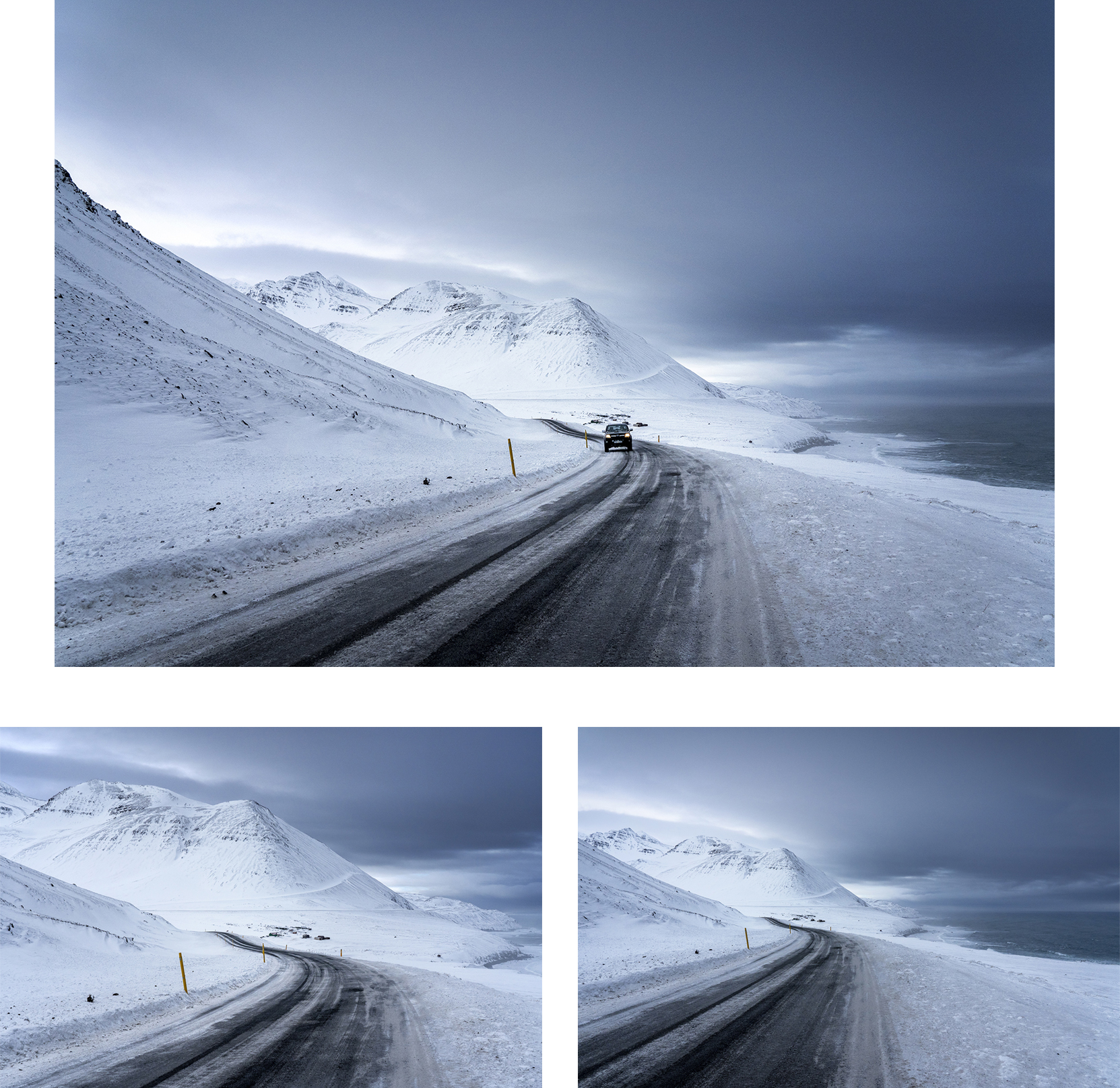Islande du Nord Tröllaskagi route montagnes mer nuages