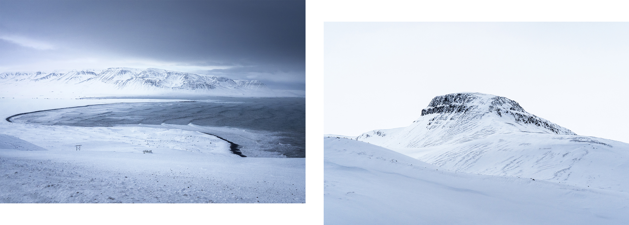 Tröllaskagi sommet neige ciel blanc et noir