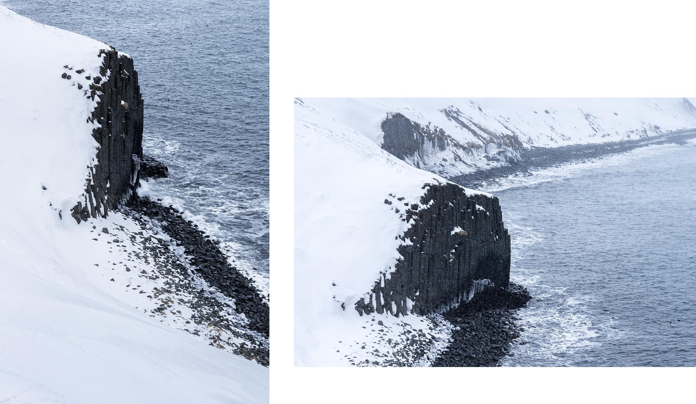 Hofsós falaises basalte neige mer Islande du Nord