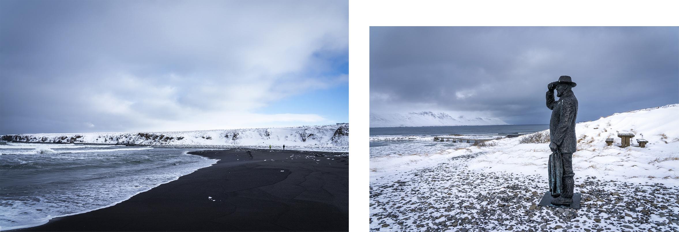 Skagafjördur plage sable noir mer écume montagnes satue