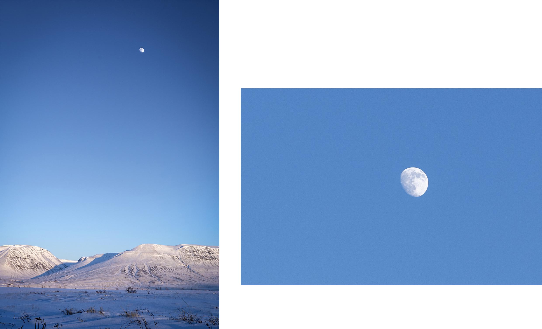 lune montagnes couchers de soleil Islande du Nord