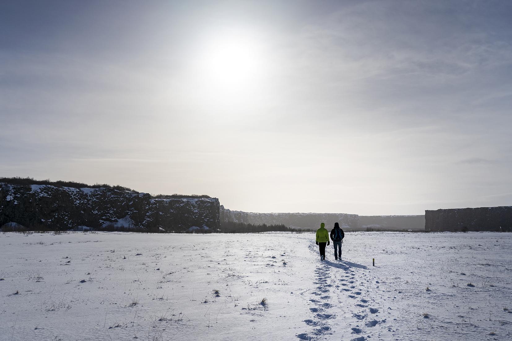 Jökulsárgljúfur faille basalte neige