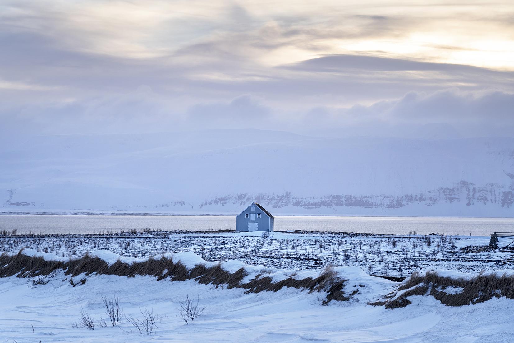 Húsavik cabane coucher du soleil