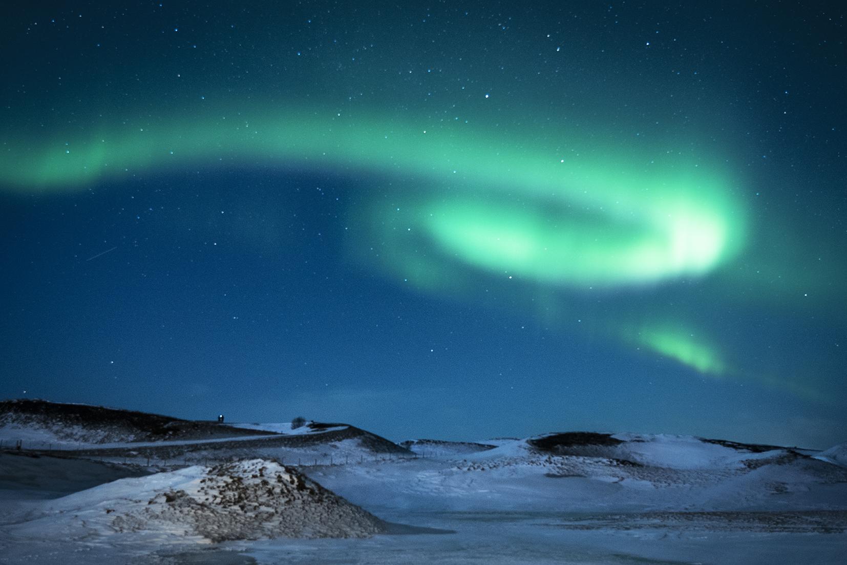 Islande du Nord Mývatn volcans lac étoiles aurores boréales