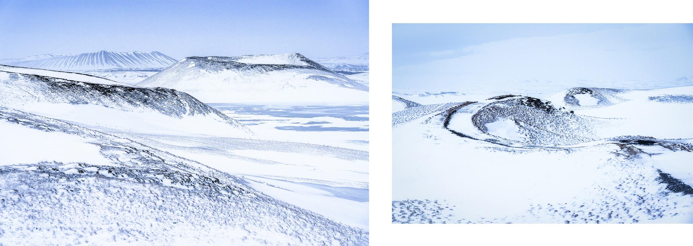 Mývatn Skútustaðagígar volcans enneigés ciel noir Islande du Nord