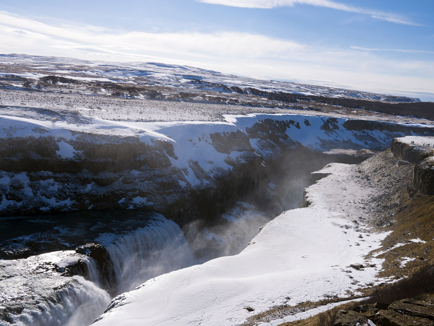 Cercle d'or Gullfoss cascade neige