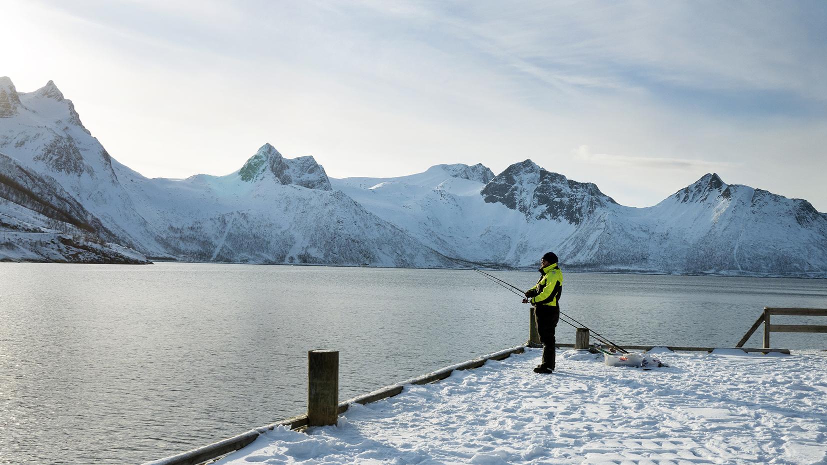 Norvège en hiver ponton Mefjordbotn