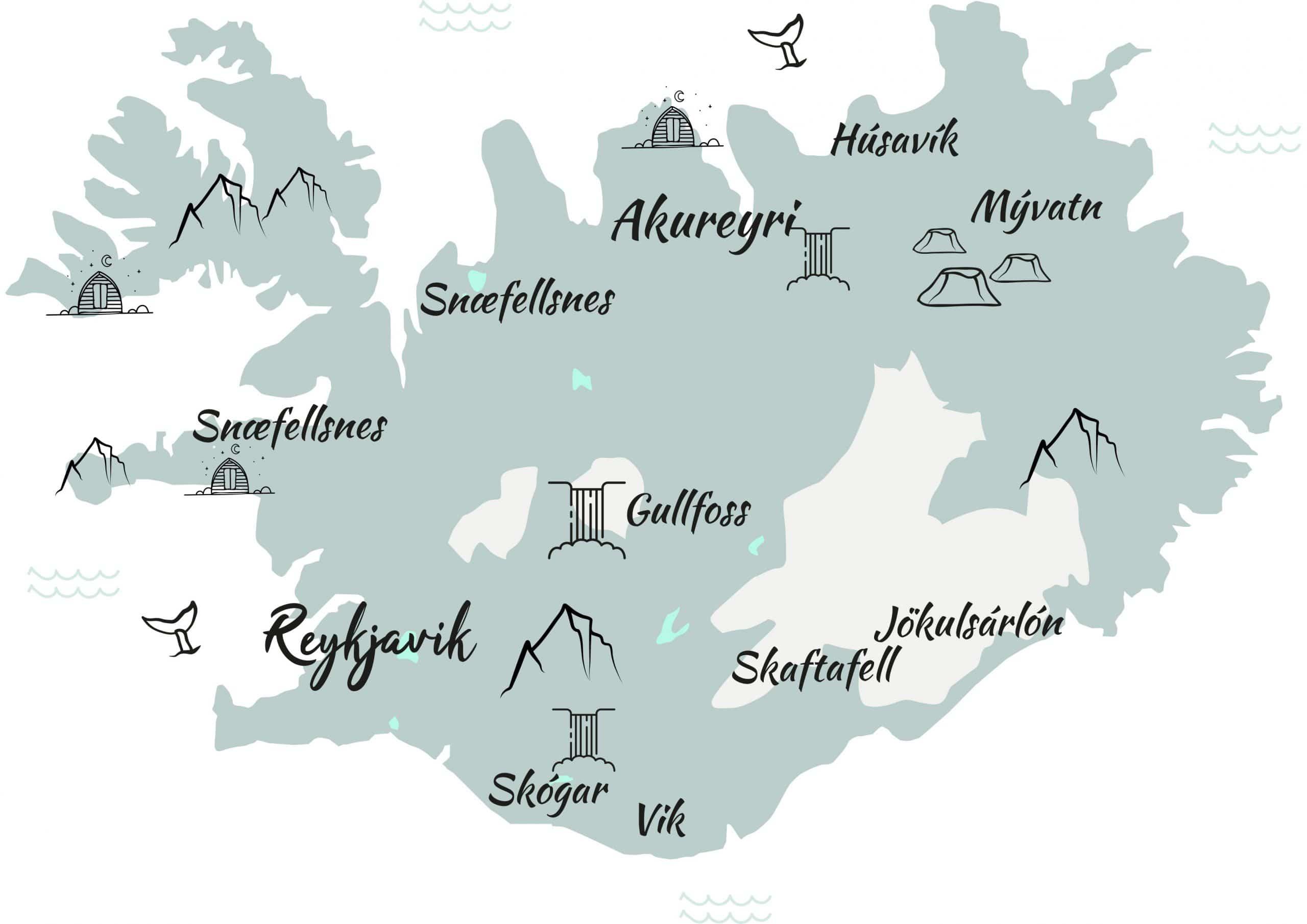 carte islande en hiver itinéraires