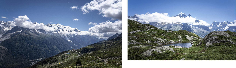 massif Mont Blanc lac vue Flégère montagnes