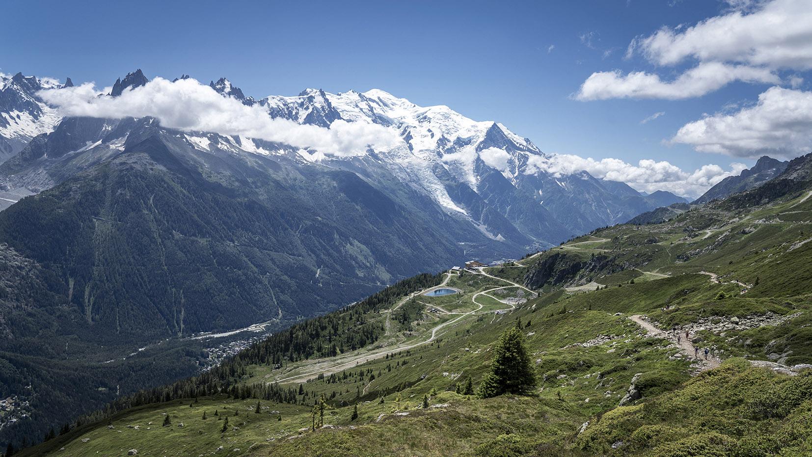 Vue la Flégère montagnes Mont Blanc