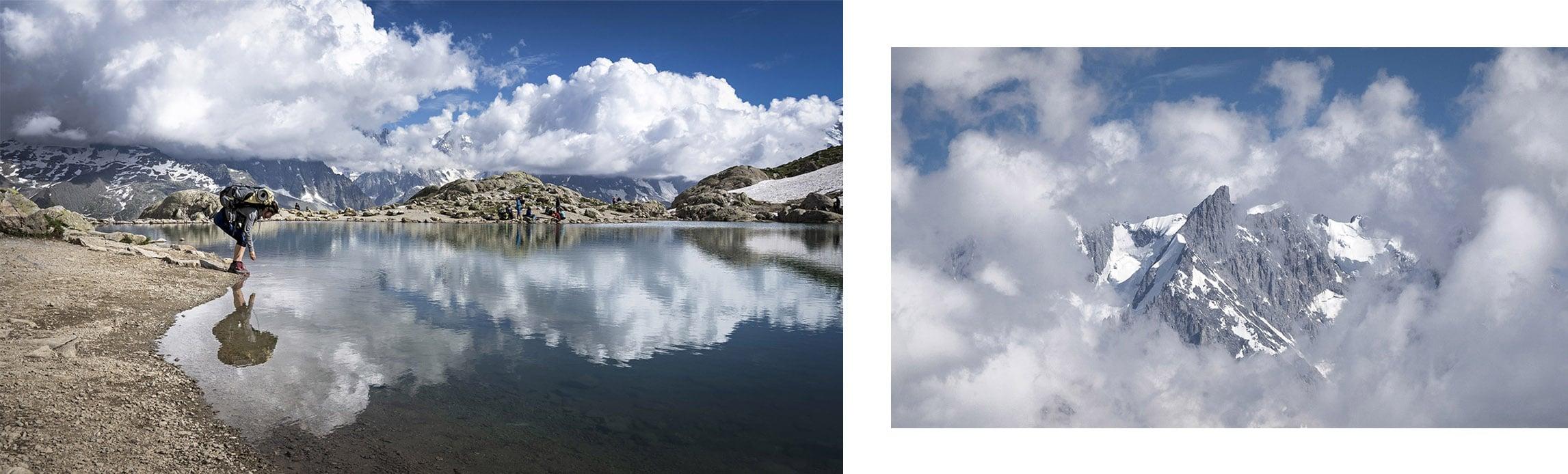 lac Blanc reflets montagnes nuages neige