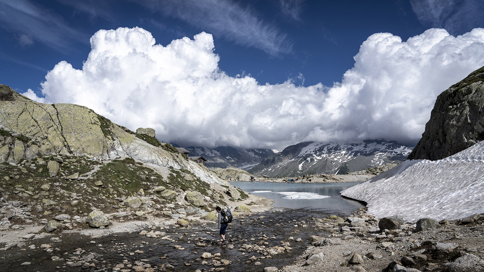 randonnée lac Blanc collier nuages neige sentier