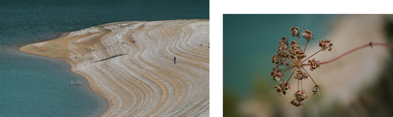 vagues strates lac de Vouglans vert émeraude fleur macro