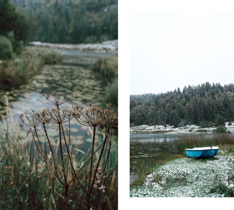 Lac Lamoura barque sapins neige