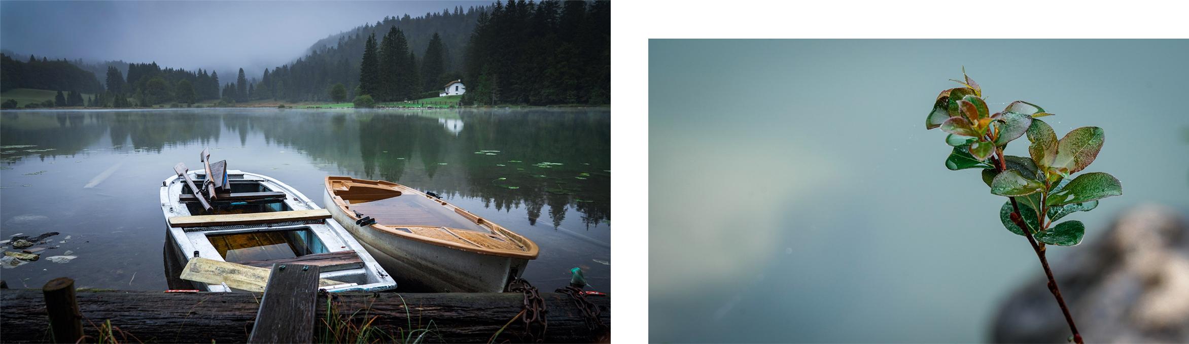 lac Genin plante barques eau nuages sapins