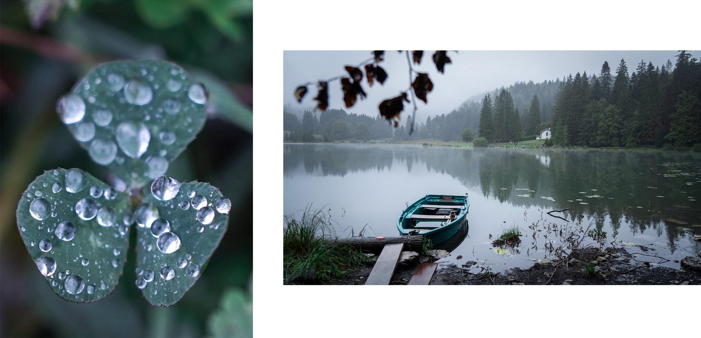Lac Genin trèfle gouttes eau nuages automne
