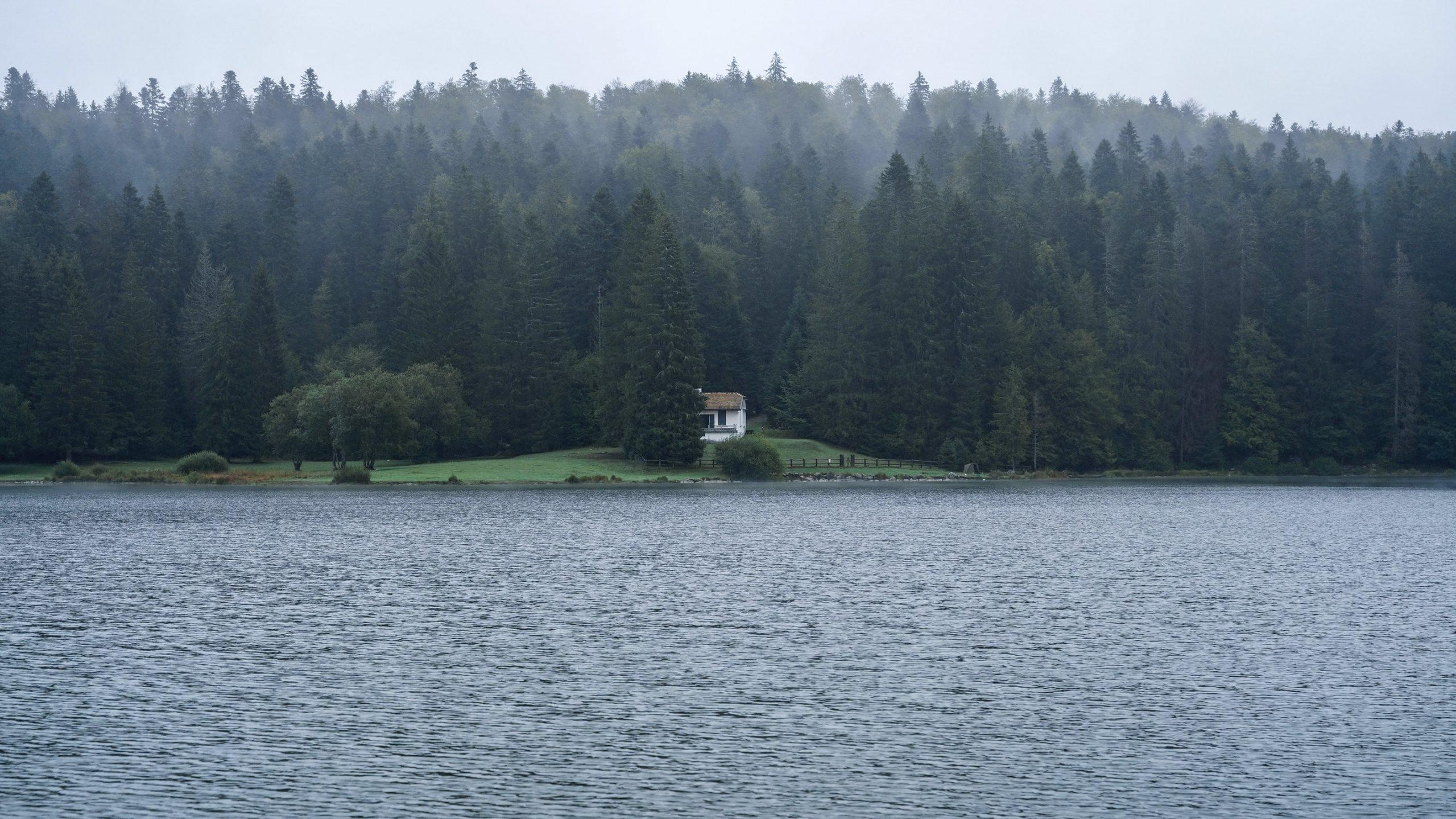 Lac Genin Jura maison sapins brume lac