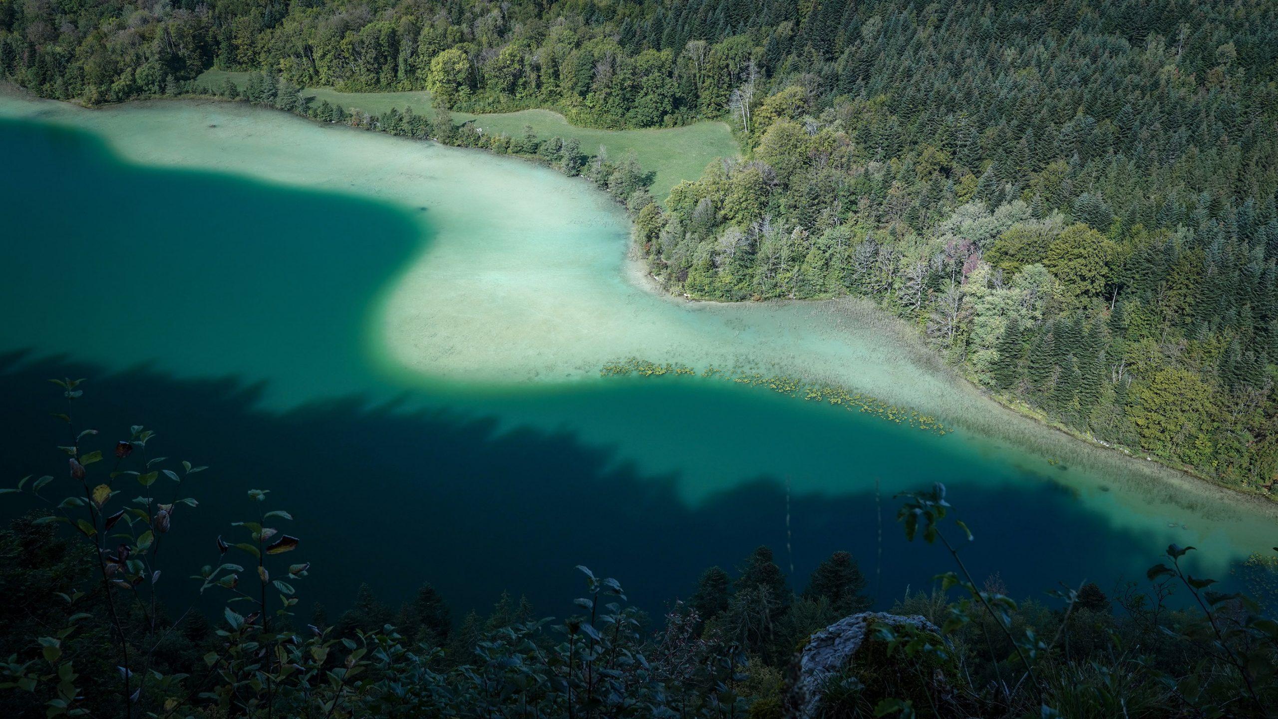 Belvédère des quatre lacs lac Maclu, courbes dégradé bleu vert sapins