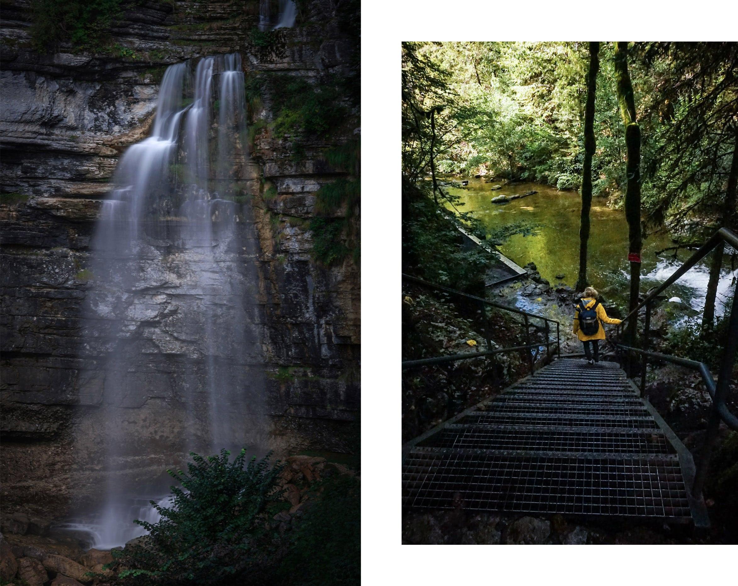 passerelle cascade du Hérisson pose longue ciré jaune soleil eau