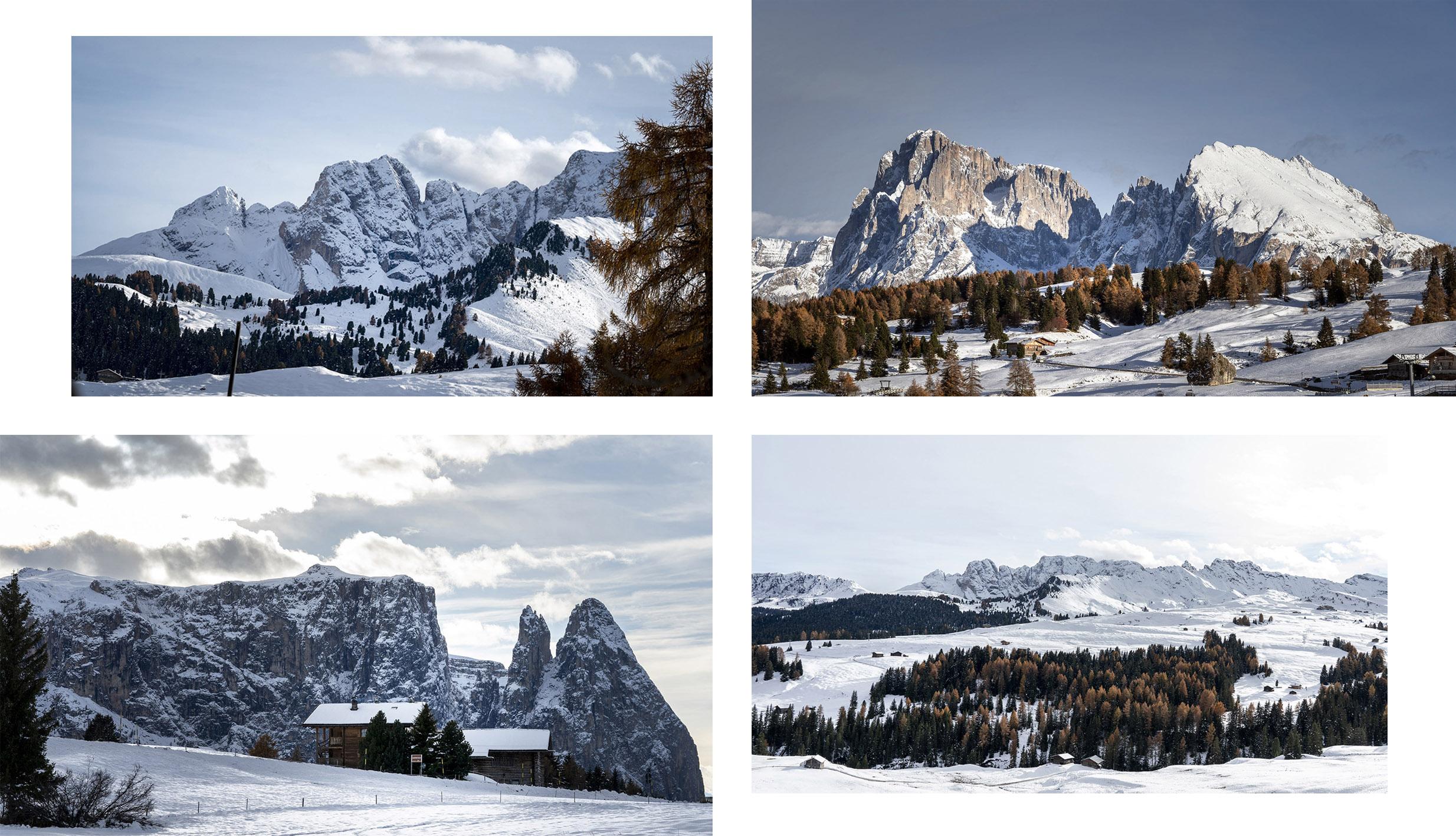 montagnes sud-tyrol Alpe di Siusi neige automne ciel bleu