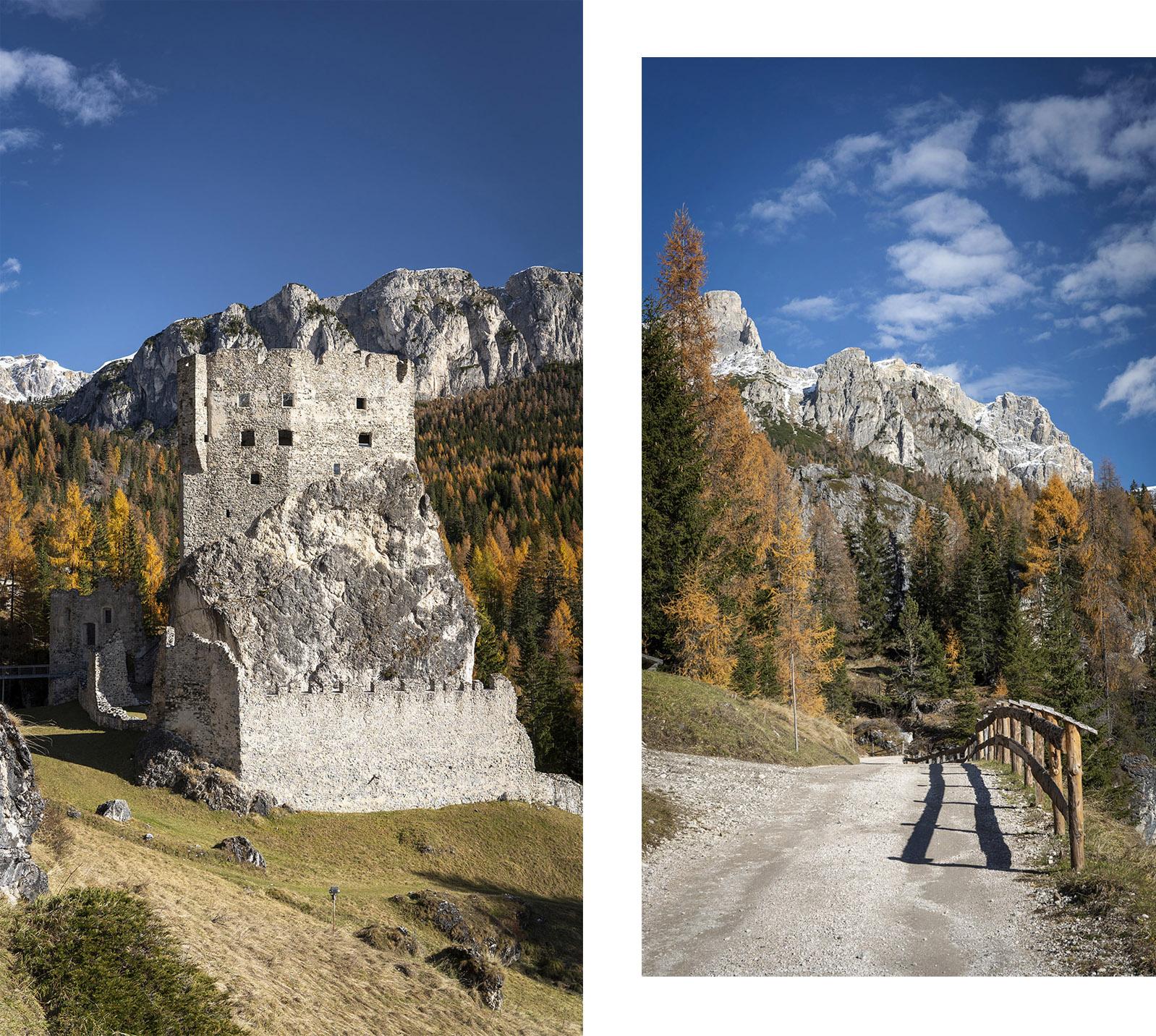 Castello di Andraz Italie Dolomites  sapins montagnes ciel bleu